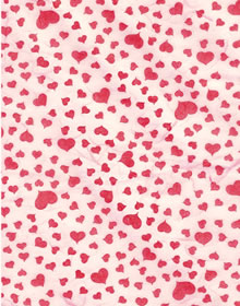 Red Heart On Pink Printed Milled Mulberry Paper Saa