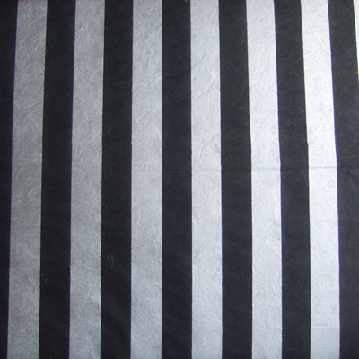 Silver Stripe On Black Printed Milled Mulberry Paper Saa